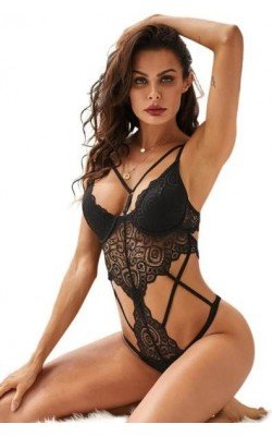 Body Tanga Strappy Negro...