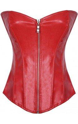 Corset rouge en cuir
